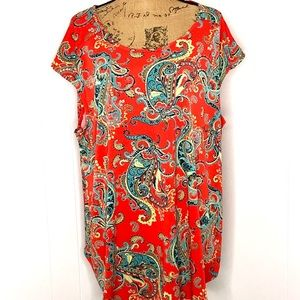 New Directions Curvy Tunic Top-Size 3X-Paisley
